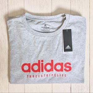 Adidas Men's Three Stripe Life Heather Grey Tee XL